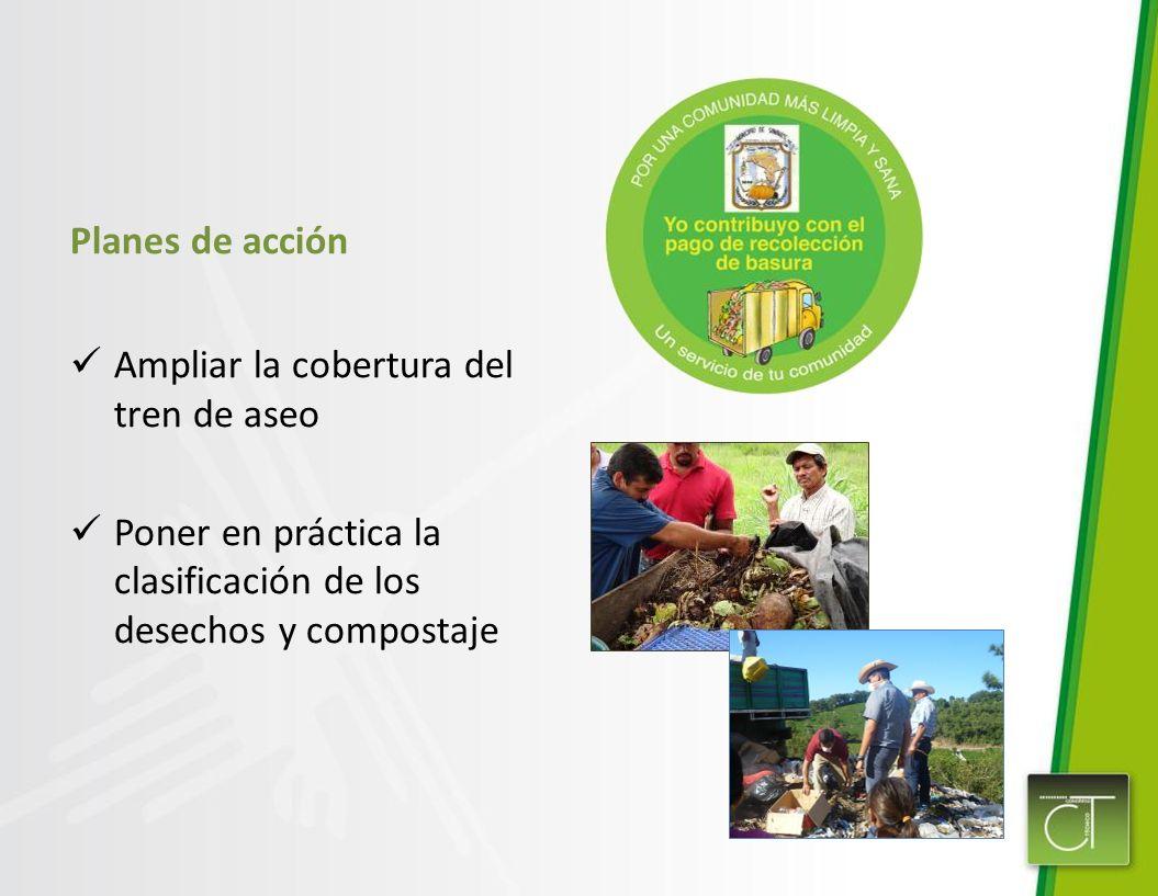 Planes de acción Ampliar la cobertura del tren de aseo Poner en práctica la clasificación de los desechos y compostaje