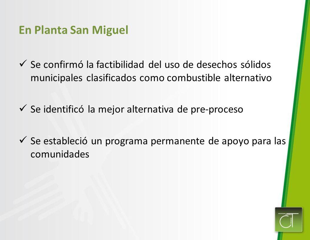 En Planta San Miguel Se confirmó la factibilidad del uso de desechos sólidos municipales clasificados como combustible alternativo Se identificó la me
