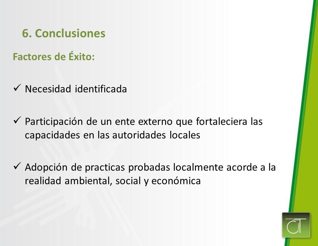 6. Conclusiones Factores de Éxito: Necesidad identificada Participación de un ente externo que fortaleciera las capacidades en las autoridades locales