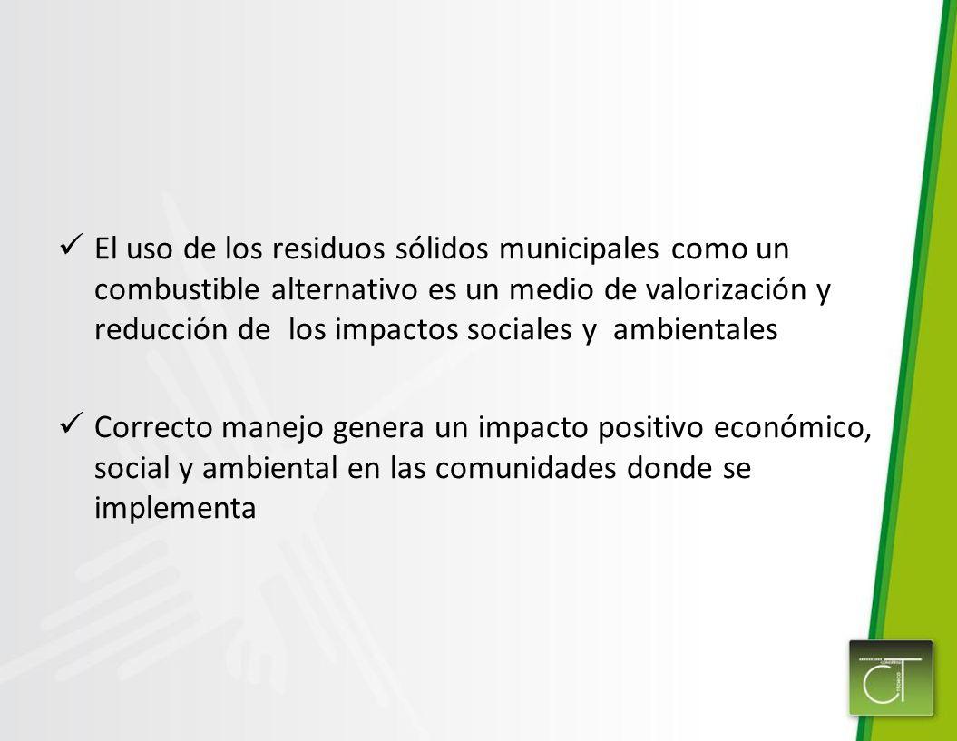 El uso de los residuos sólidos municipales como un combustible alternativo es un medio de valorización y reducción de los impactos sociales y ambienta