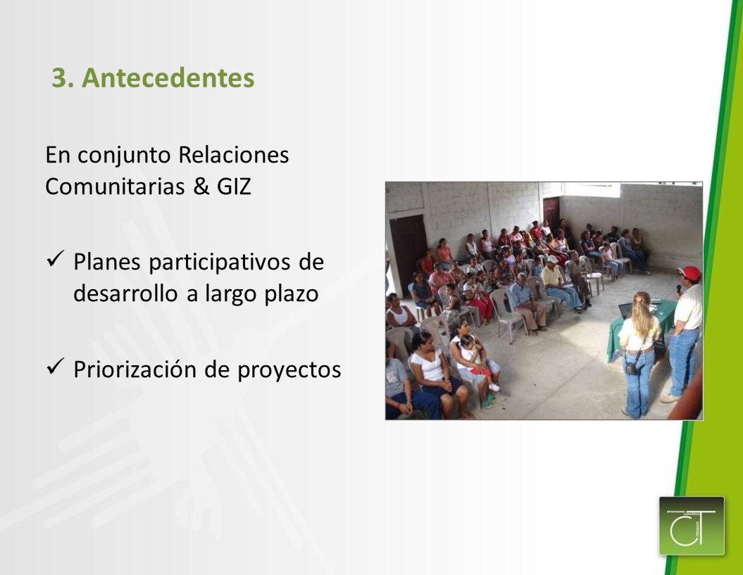 3. Antecedentes En conjunto Relaciones Comunitarias & GIZ Planes participativos de desarrollo a largo plazo Priorización de proyectos