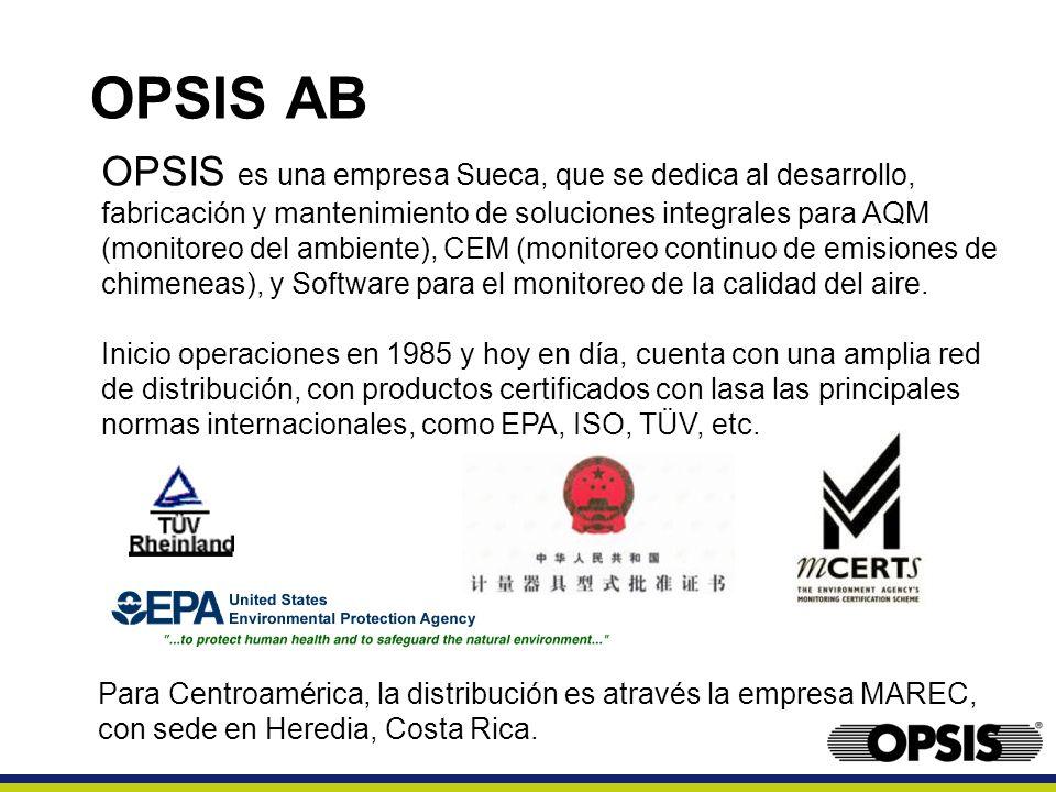 OPSIS es una empresa Sueca, que se dedica al desarrollo, fabricación y mantenimiento de soluciones integrales para AQM (monitoreo del ambiente), CEM (