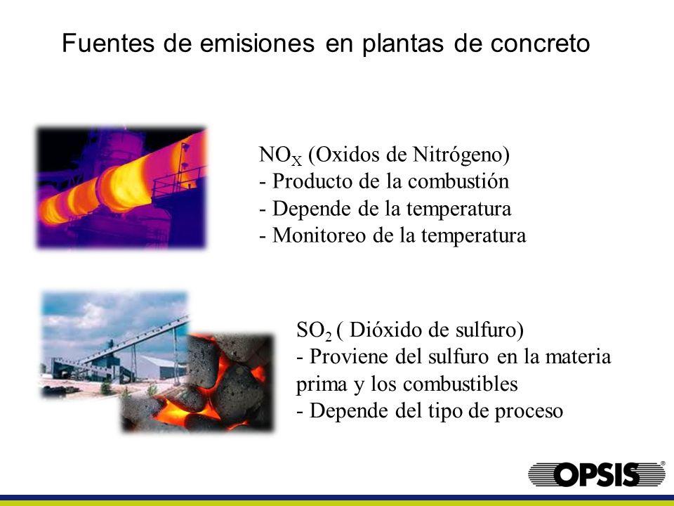 Fuentes de emisiones en plantas de concreto NO X (Oxidos de Nitrógeno) - Producto de la combustión - Depende de la temperatura - Monitoreo de la tempe