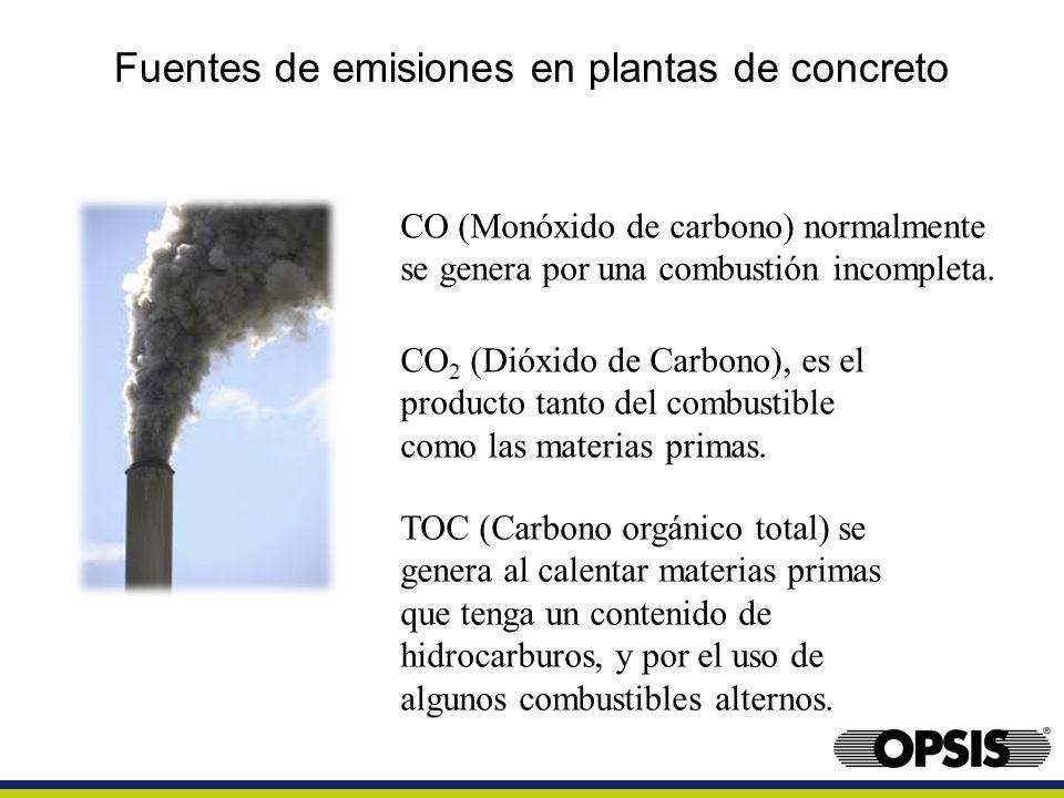 Fuentes de emisiones en plantas de concreto CO (Monóxido de carbono) normalmente se genera por una combustión incompleta. CO 2 (Dióxido de Carbono), e