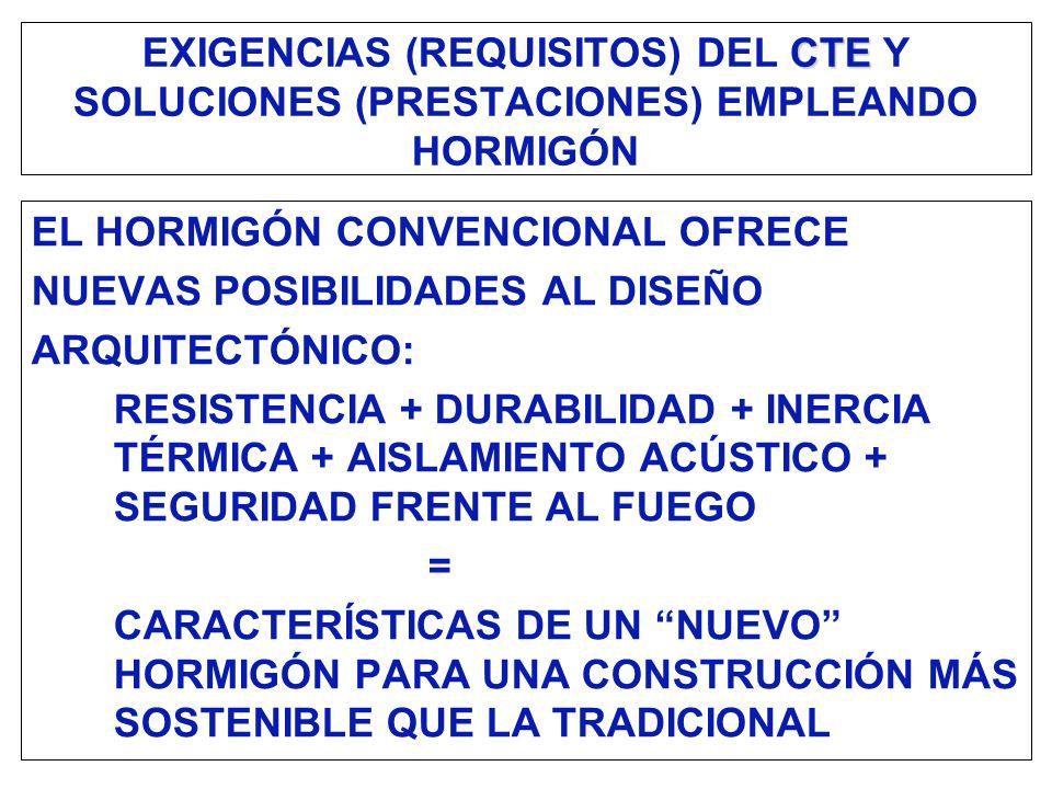 CTE EXIGENCIAS (REQUISITOS) DEL CTE Y SOLUCIONES (PRESTACIONES) EMPLEANDO HORMIGÓN EL HORMIGÓN CONVENCIONAL OFRECE NUEVAS POSIBILIDADES AL DISEÑO ARQU