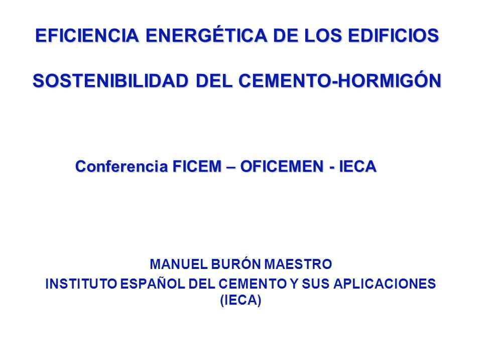 MANUEL BURÓN MAESTRO INSTITUTO ESPAÑOL DEL CEMENTO Y SUS APLICACIONES (IECA) EFICIENCIA ENERGÉTICA DE LOS EDIFICIOS SOSTENIBILIDAD DEL CEMENTO-HORMIGÓ