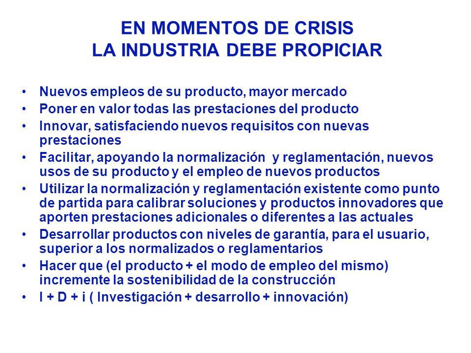 EN MOMENTOS DE CRISIS LA INDUSTRIA DEBE PROPICIAR Nuevos empleos de su producto, mayor mercado Poner en valor todas las prestaciones del producto Inno
