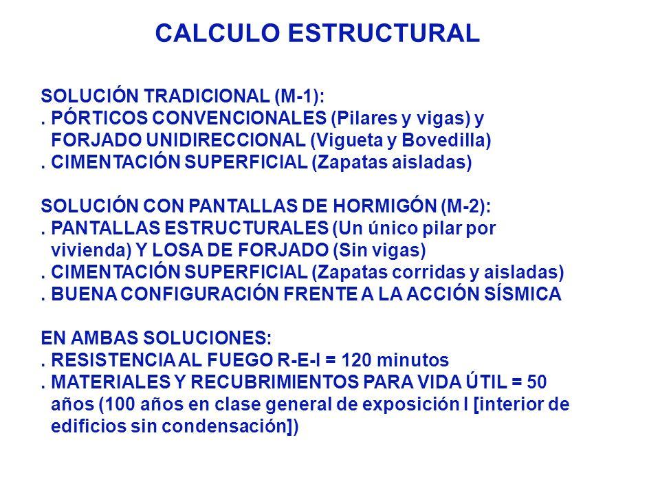 CALCULO ESTRUCTURAL SOLUCIÓN TRADICIONAL (M-1):. PÓRTICOS CONVENCIONALES (Pilares y vigas) y FORJADO UNIDIRECCIONAL (Vigueta y Bovedilla). CIMENTACIÓN