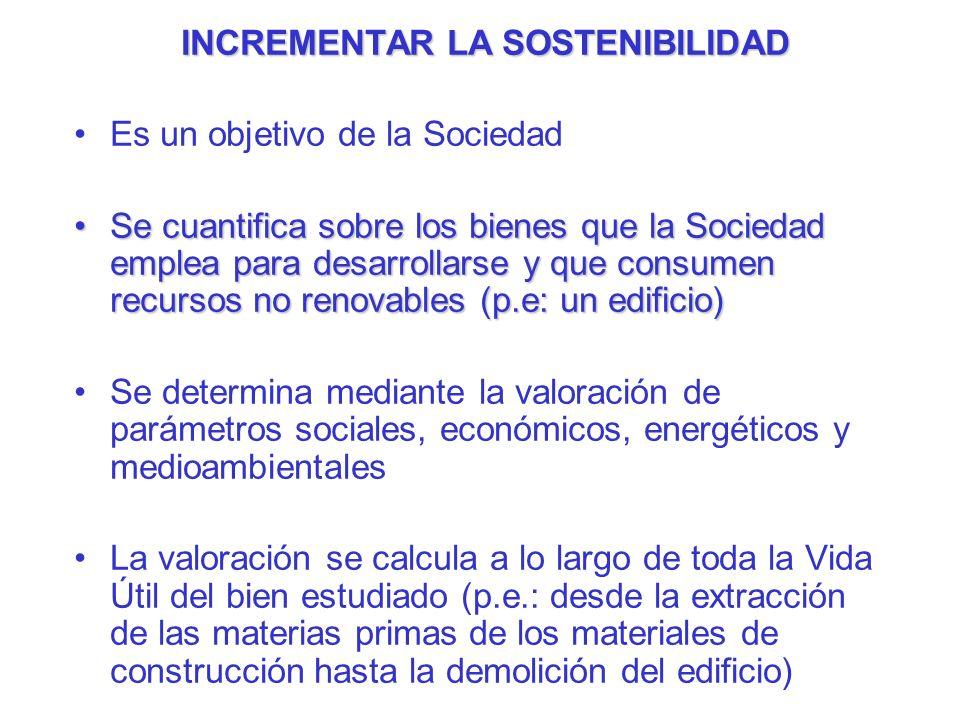 INCREMENTAR LA SOSTENIBILIDAD Es un objetivo de la Sociedad Se cuantifica sobre los bienes que la Sociedad emplea para desarrollarse y que consumen re