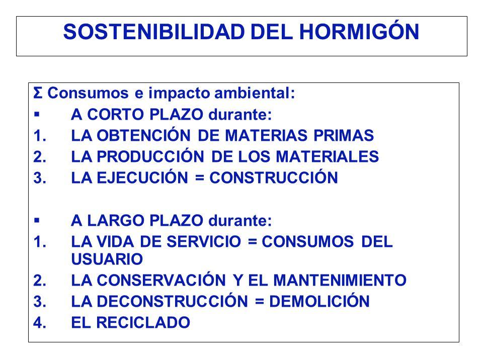 SOSTENIBILIDAD DEL HORMIGÓN Σ Consumos e impacto ambiental: A CORTO PLAZO durante: LA OBTENCIÓN DE MATERIAS PRIMAS LA PRODUCCIÓN DE LOS MATERIALES LA