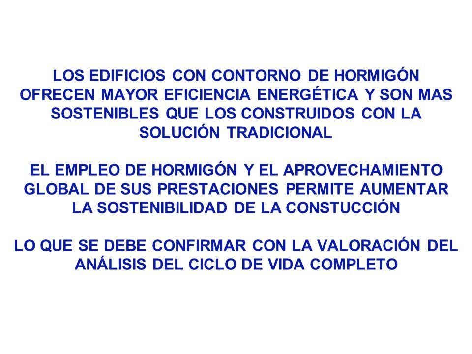 LOS EDIFICIOS CON CONTORNO DE HORMIGÓN OFRECEN MAYOR EFICIENCIA ENERGÉTICA Y SON MAS SOSTENIBLES QUE LOS CONSTRUIDOS CON LA SOLUCIÓN TRADICIONAL EL EM