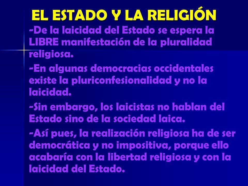 EL ESTADO Y LA RELIGIÓN -De la laicidad del Estado se espera la LIBRE manifestación de la pluralidad religiosa. -En algunas democracias occidentales e