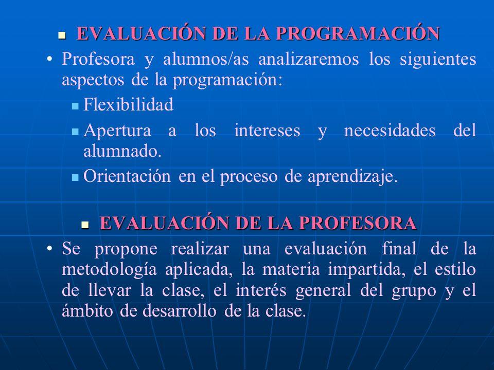 EVALUACIÓN DE LA PROGRAMACIÓN EVALUACIÓN DE LA PROGRAMACIÓN Profesora y alumnos/as analizaremos los siguientes aspectos de la programación: Flexibilid