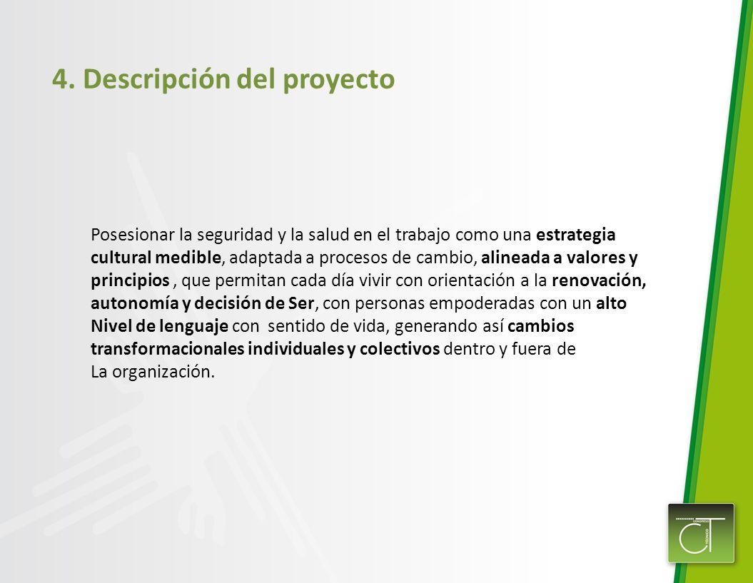 4. Descripción del proyecto Posesionar la seguridad y la salud en el trabajo como una estrategia cultural medible, adaptada a procesos de cambio, alin