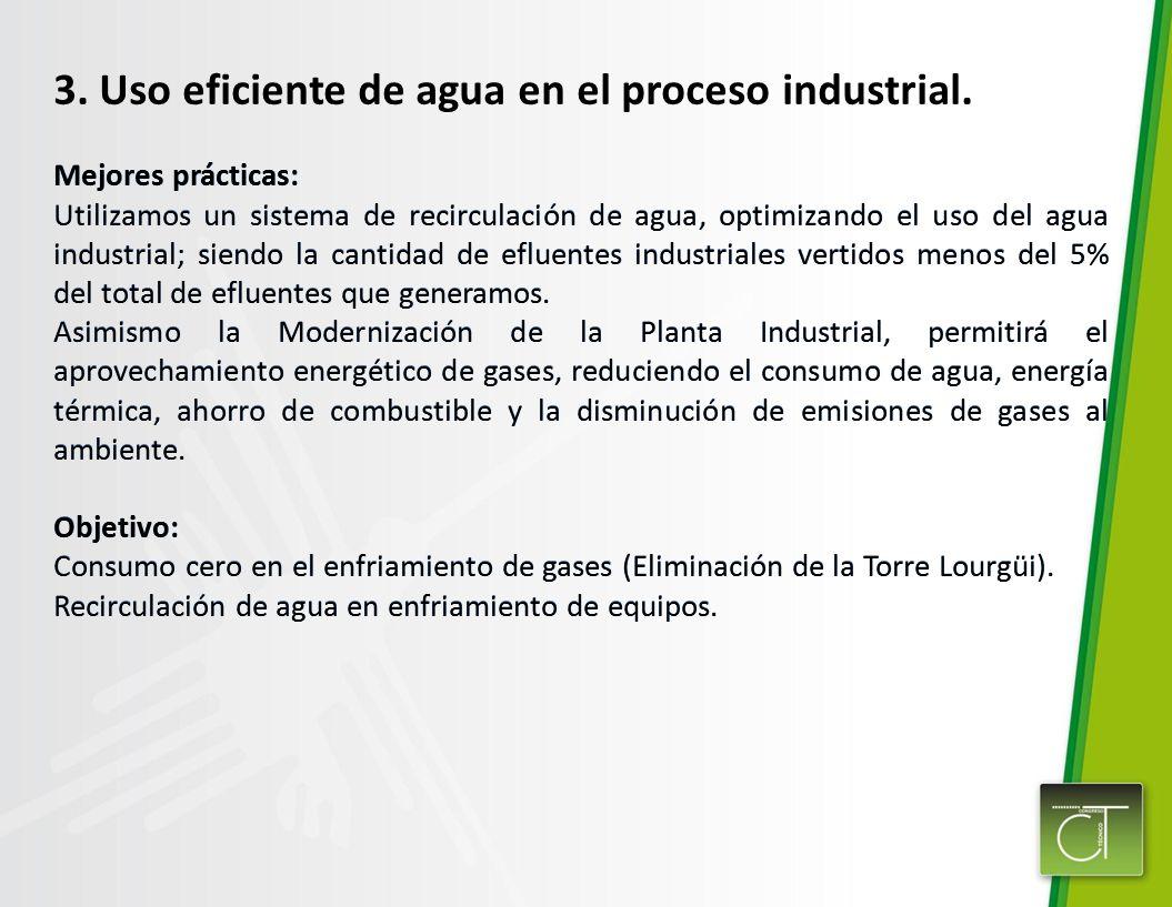 3. Uso eficiente de agua en el proceso industrial. Mejores prácticas: Utilizamos un sistema de recirculación de agua, optimizando el uso del agua indu