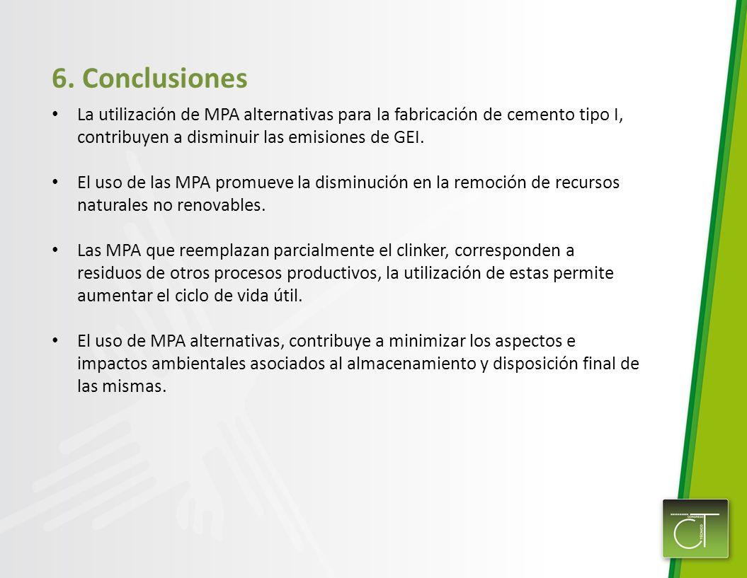 6. Conclusiones La utilización de MPA alternativas para la fabricación de cemento tipo I, contribuyen a disminuir las emisiones de GEI. El uso de las