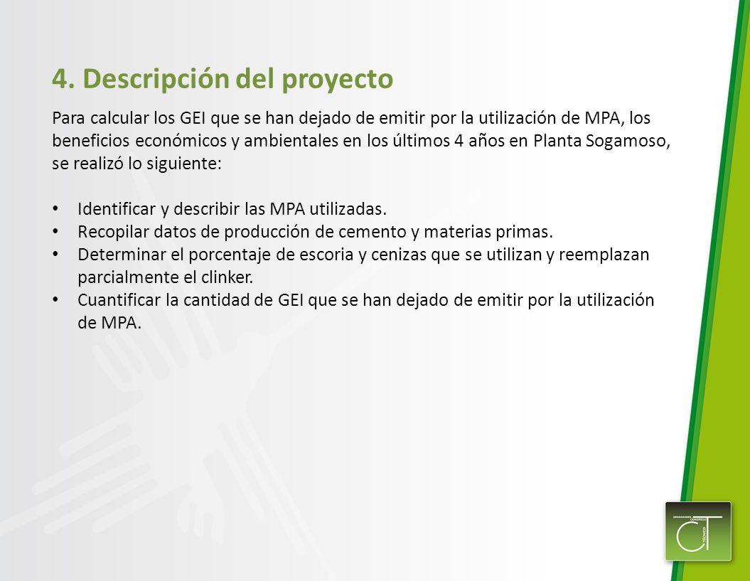 4. Descripción del proyecto Para calcular los GEI que se han dejado de emitir por la utilización de MPA, los beneficios económicos y ambientales en lo