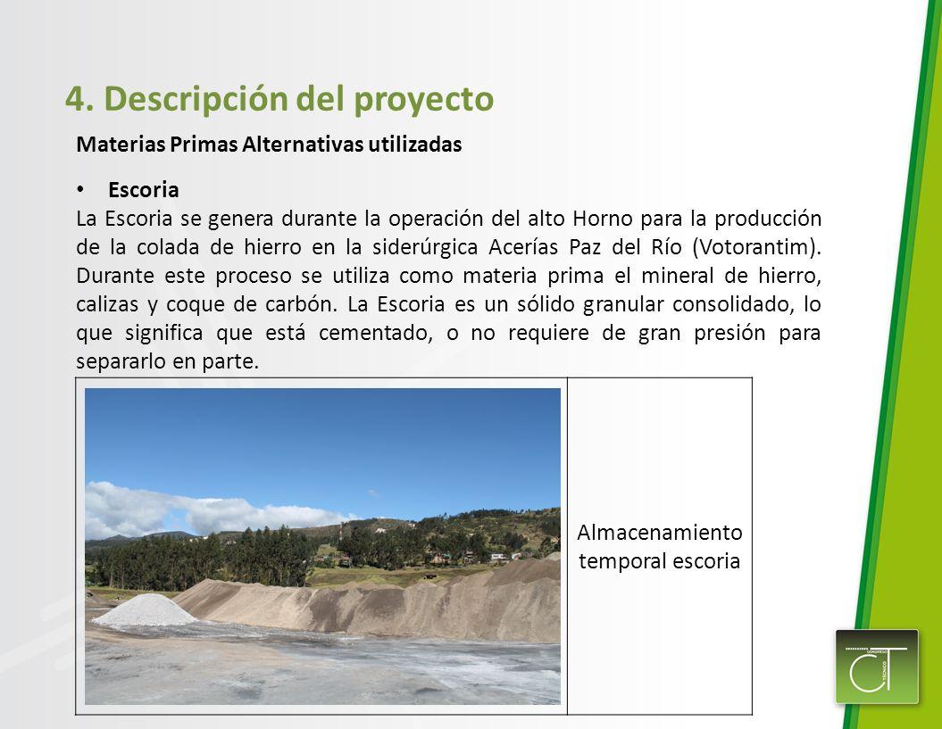 4. Descripción del proyecto Materias Primas Alternativas utilizadas Escoria La Escoria se genera durante la operación del alto Horno para la producció