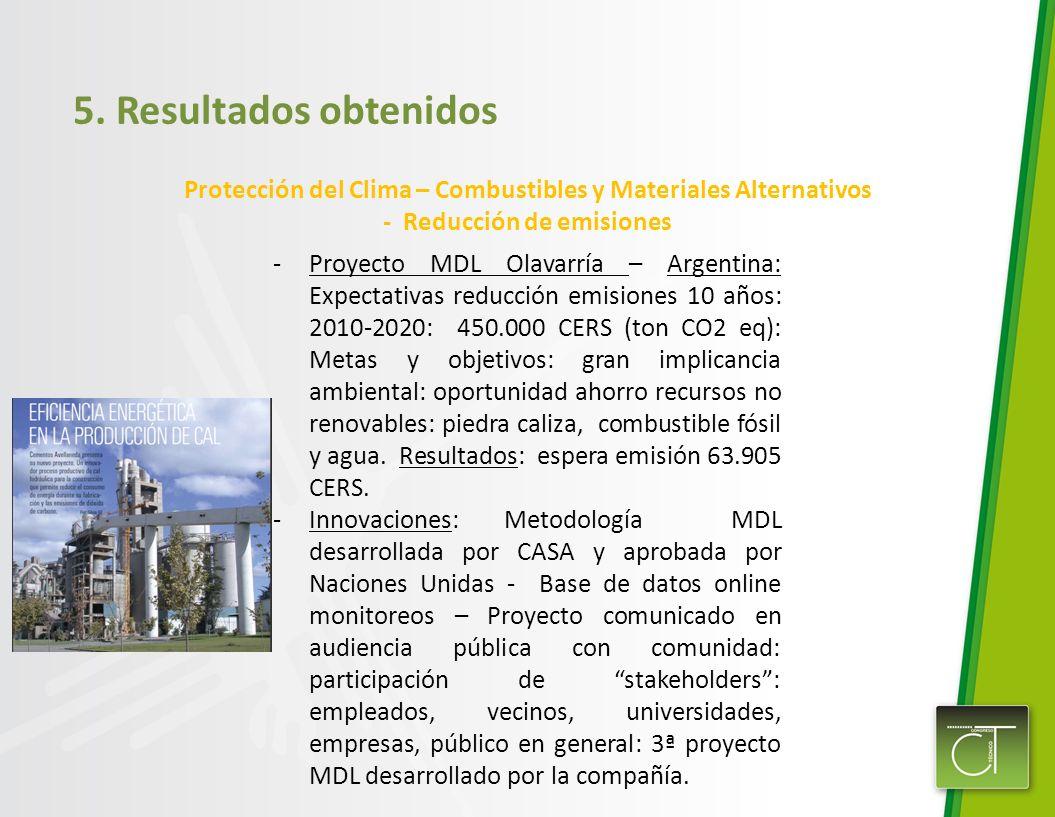 5. Resultados obtenidos Protección del Clima – Combustibles y Materiales Alternativos - Reducción de emisiones -Proyecto MDL Olavarría – Argentina: Ex