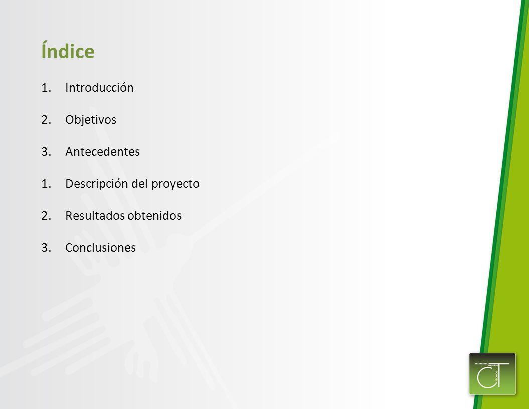 Índice 1.Introducción 2.Objetivos 3.Antecedentes 1.Descripción del proyecto 2.Resultados obtenidos 3.Conclusiones