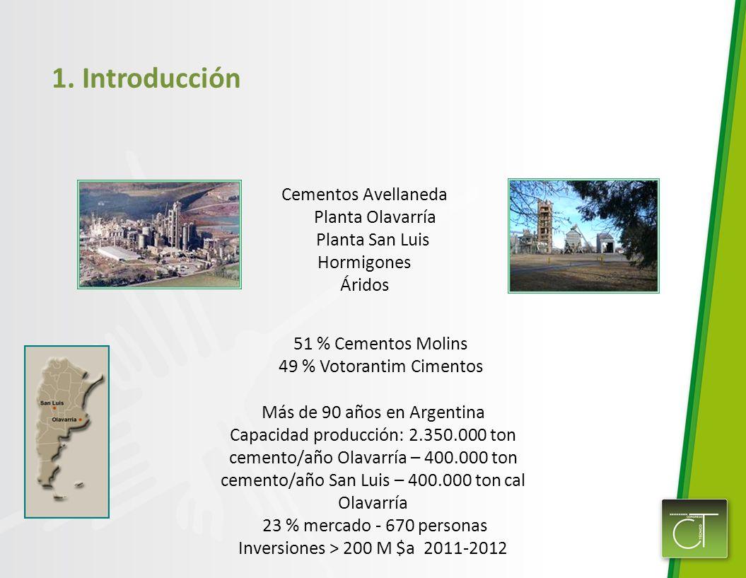 1. Introducción Cementos Avellaneda Planta Olavarría Planta San Luis Hormigones Áridos 51 % Cementos Molins 49 % Votorantim Cimentos Más de 90 años en