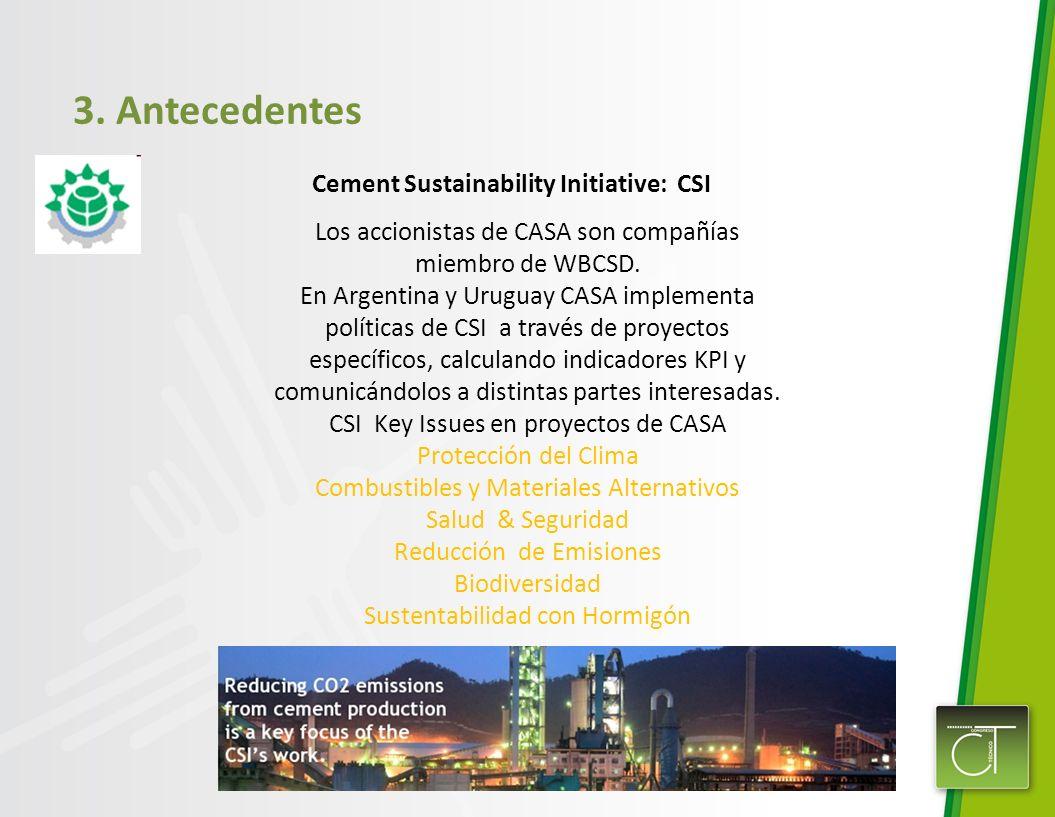 3. Antecedentes Cement Sustainability Initiative: CSI Los accionistas de CASA son compañías miembro de WBCSD. En Argentina y Uruguay CASA implementa p