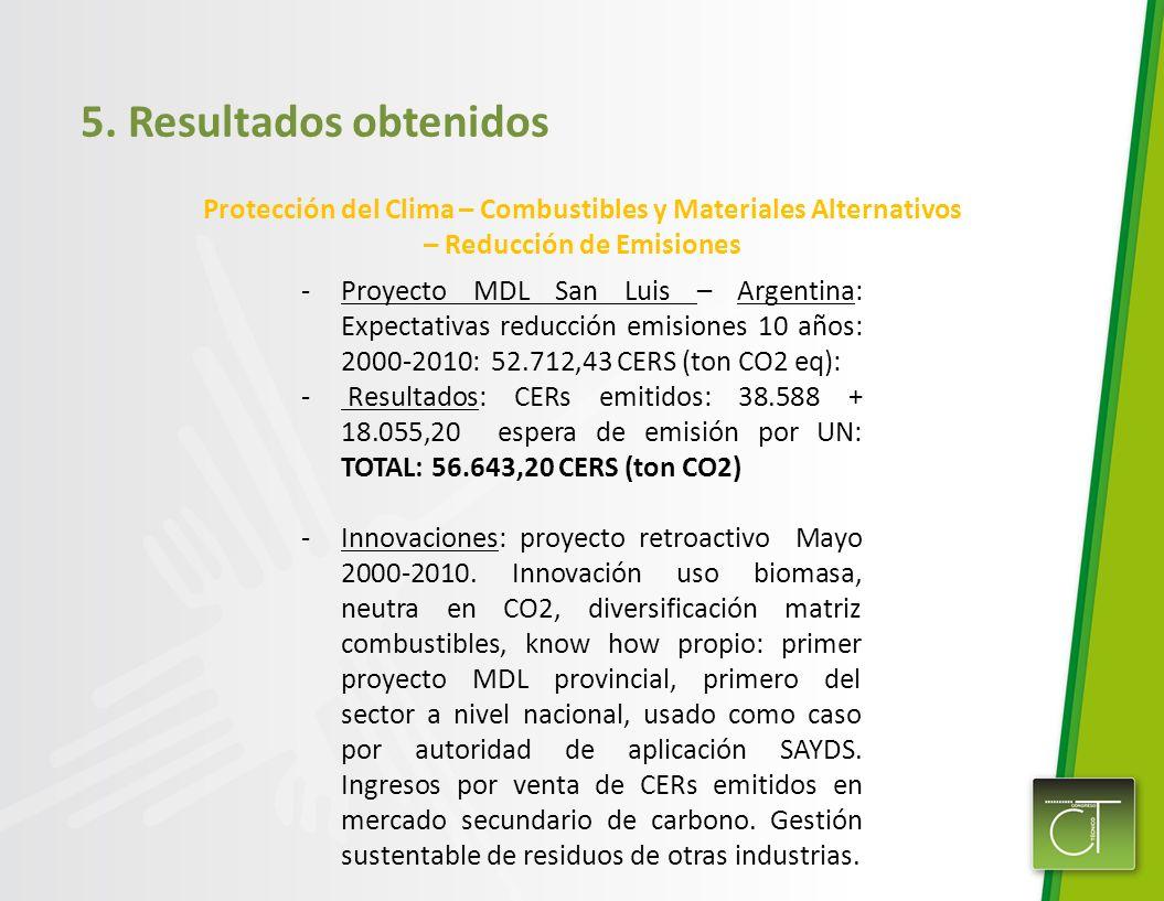 5. Resultados obtenidos Protección del Clima – Combustibles y Materiales Alternativos – Reducción de Emisiones -Proyecto MDL San Luis – Argentina: Exp