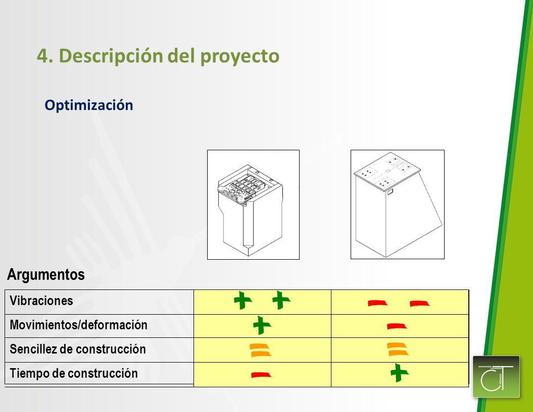 4. Descripción del proyecto Optimización Vibraciones Movimientos/deformación Sencillez de construcción Tiempo de construcción Argumentos
