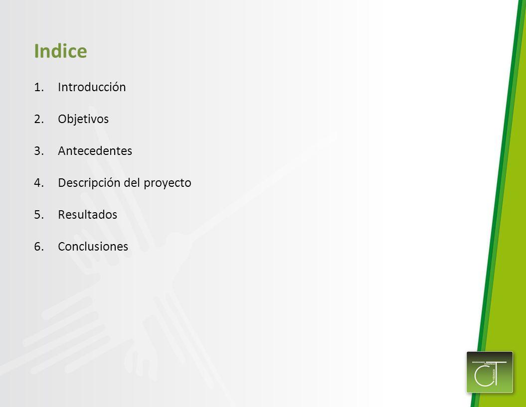 Indice 1.Introducción 2.Objetivos 3.Antecedentes 4.Descripción del proyecto 5.Resultados 6.Conclusiones