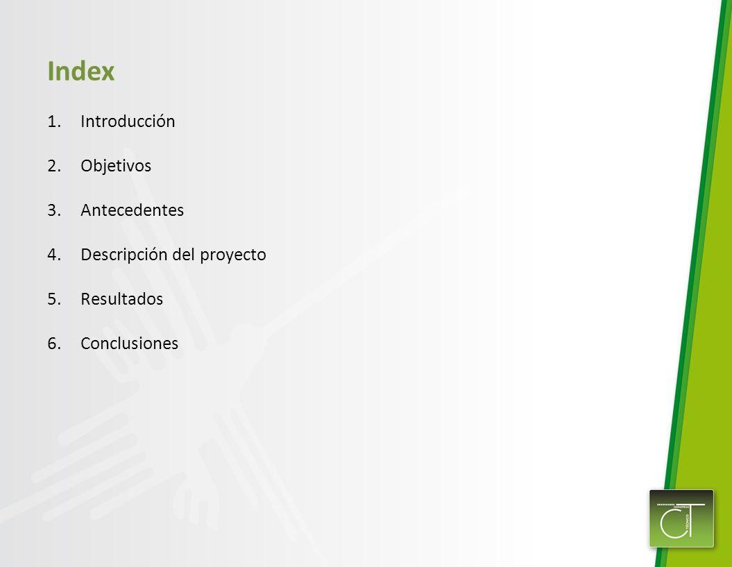 Index 1.Introducción 2.Objetivos 3.Antecedentes 4.Descripción del proyecto 5.Resultados 6.Conclusiones