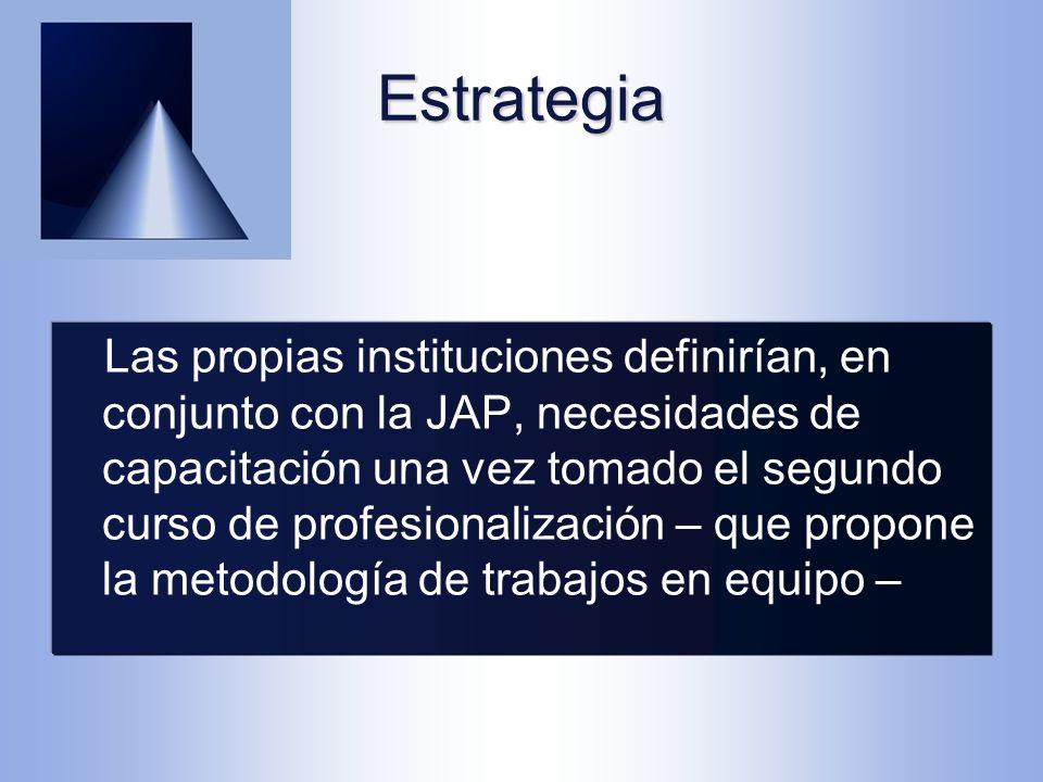 Estrategia Las propias instituciones definirían, en conjunto con la JAP, necesidades de capacitación una vez tomado el segundo curso de profesionalización – que propone la metodología de trabajos en equipo –