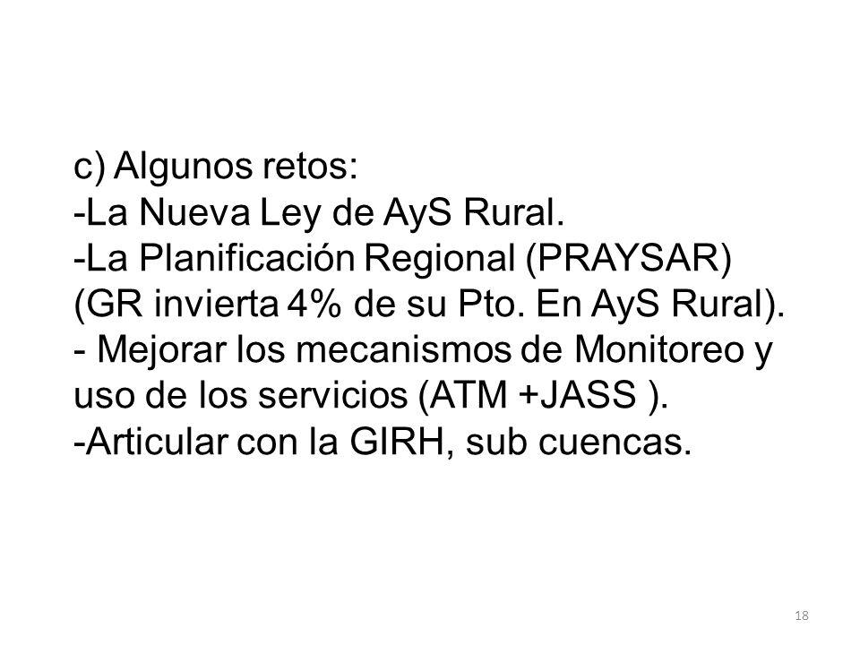 c) Algunos retos: -La Nueva Ley de AyS Rural. -La Planificación Regional (PRAYSAR) (GR invierta 4% de su Pto. En AyS Rural). - Mejorar los mecanismos