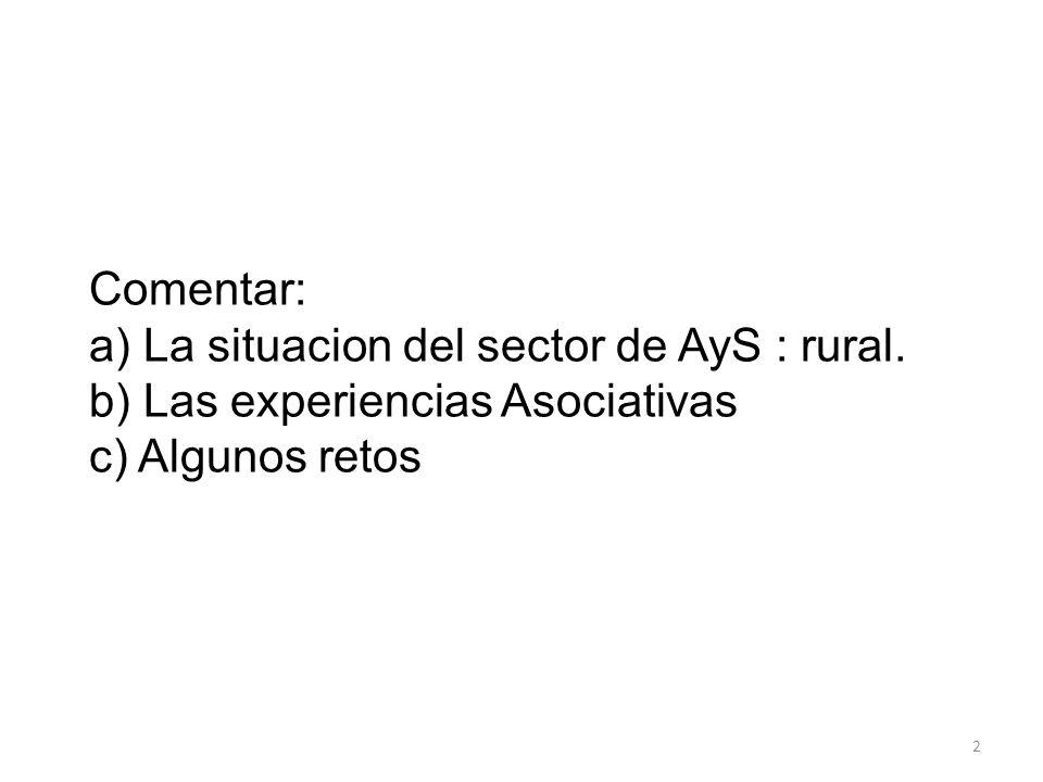 Comentar: a) La situacion del sector de AyS : rural. b) Las experiencias Asociativas c) Algunos retos 2