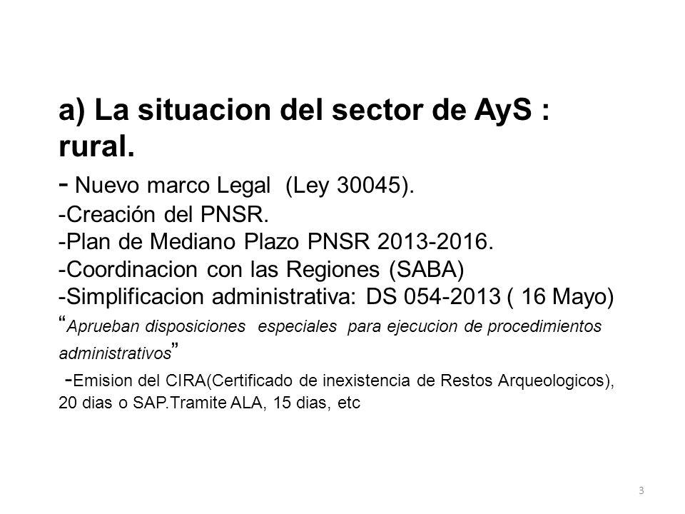 a) La situacion del sector de AyS : rural. - Nuevo marco Legal (Ley 30045). -Creación del PNSR. -Plan de Mediano Plazo PNSR 2013-2016. -Coordinacion c