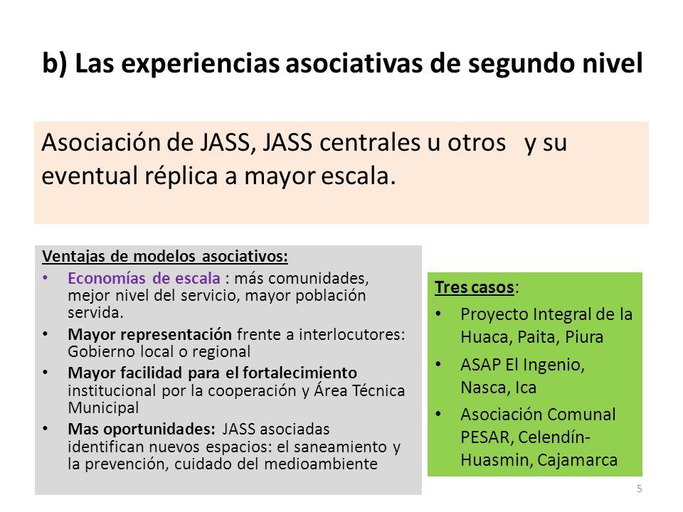 b) Las experiencias asociativas de segundo nivel Asociación de JASS, JASS centrales u otros y su eventual réplica a mayor escala. Tres casos: Proyecto
