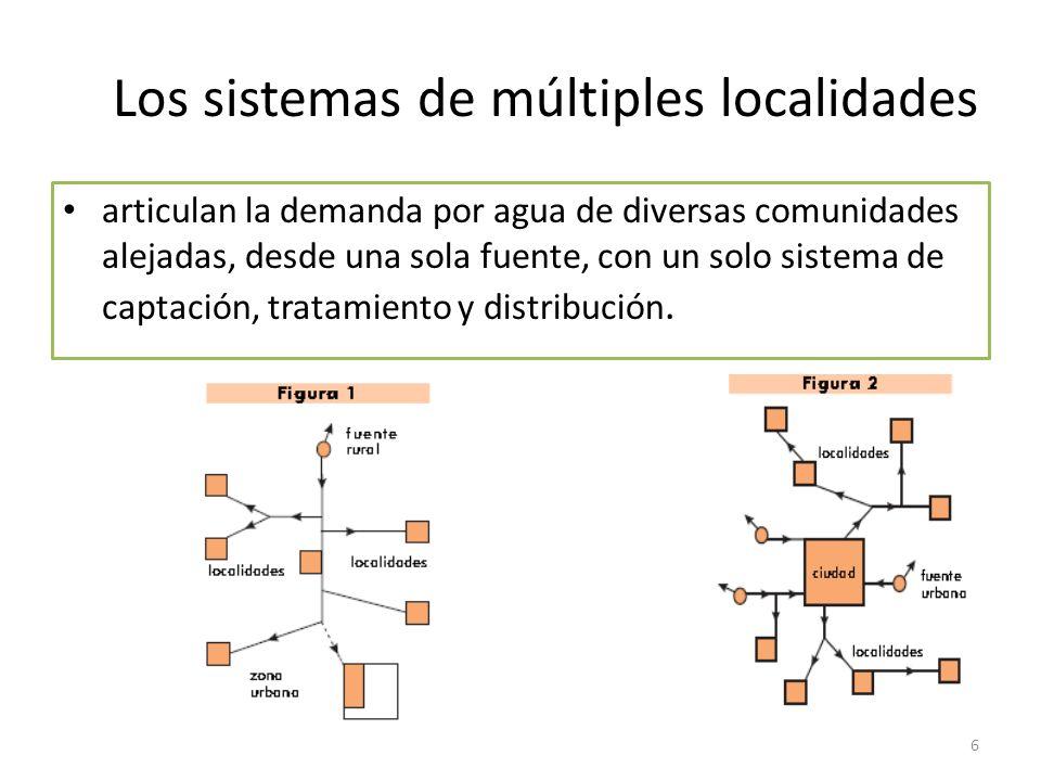Los sistemas de múltiples localidades articulan la demanda por agua de diversas comunidades alejadas, desde una sola fuente, con un solo sistema de ca