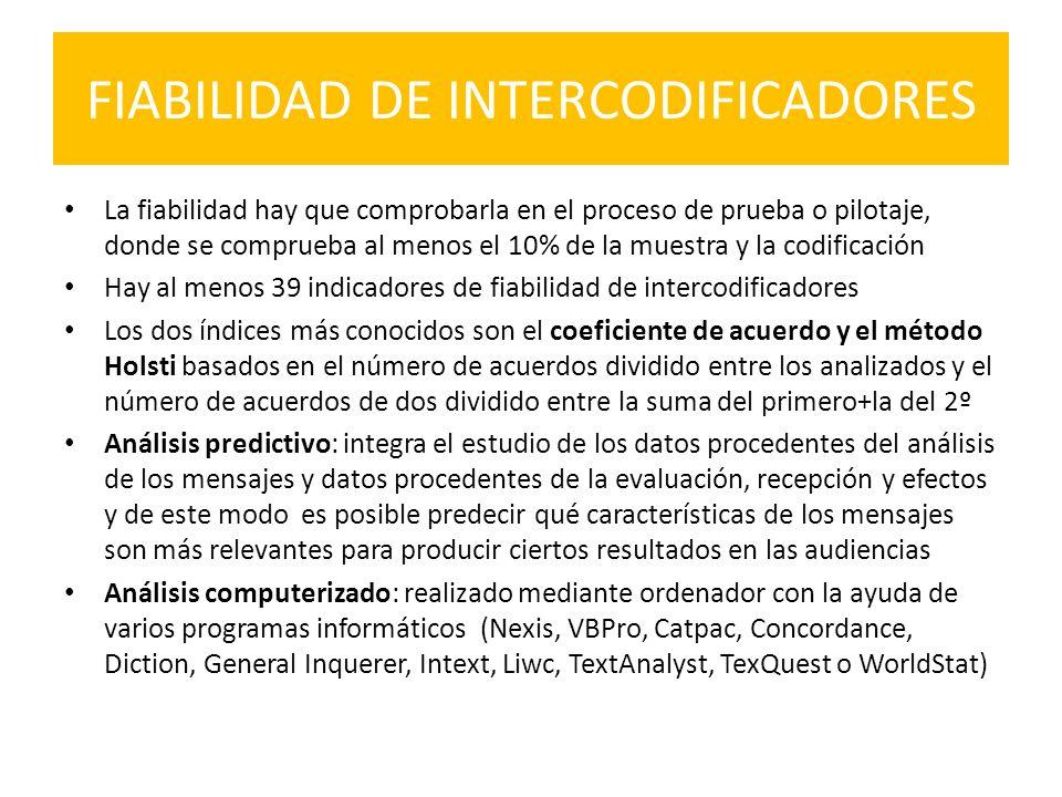 FIABILIDAD DE INTERCODIFICADORES La fiabilidad hay que comprobarla en el proceso de prueba o pilotaje, donde se comprueba al menos el 10% de la muestr