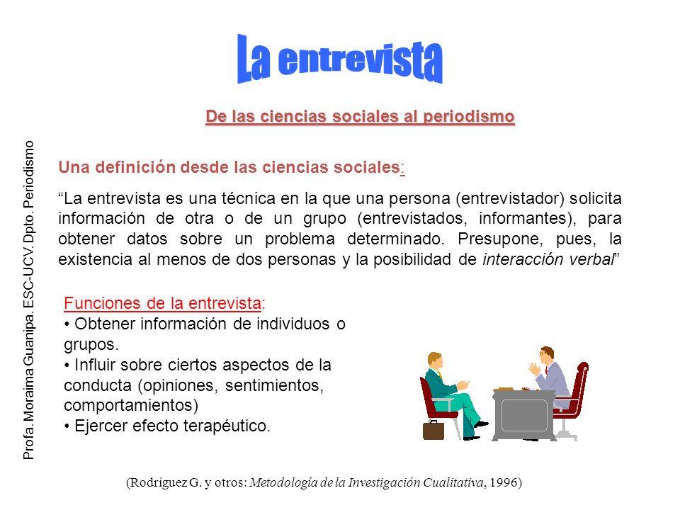 Funciones de la entrevista: Obtener información de individuos o grupos. Influir sobre ciertos aspectos de la conducta (opiniones, sentimientos, compor