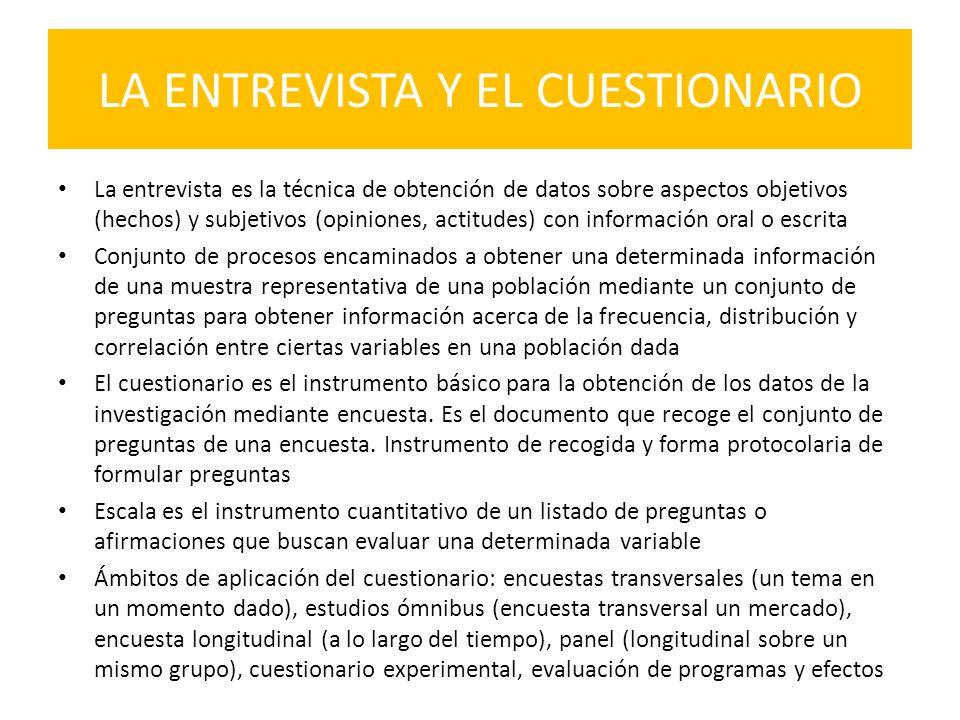 LA ENTREVISTA Y EL CUESTIONARIO La entrevista es la técnica de obtención de datos sobre aspectos objetivos (hechos) y subjetivos (opiniones, actitudes