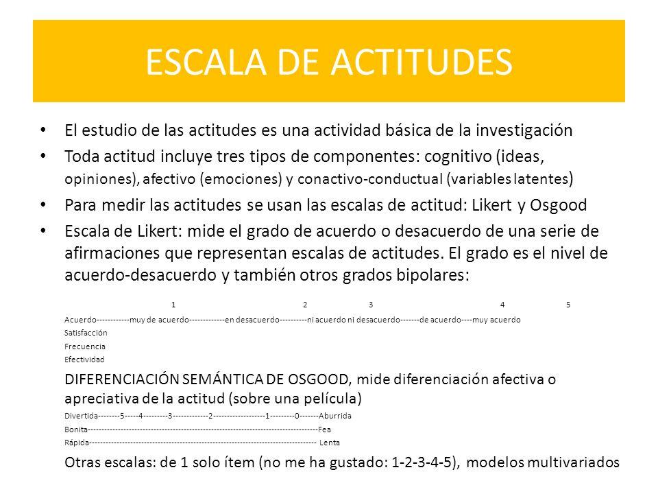 ESCALA DE ACTITUDES El estudio de las actitudes es una actividad básica de la investigación Toda actitud incluye tres tipos de componentes: cognitivo
