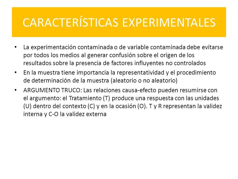 CARACTERÍSTICAS EXPERIMENTALES La experimentación contaminada o de variable contaminada debe evitarse por todos los medios al generar confusión sobre