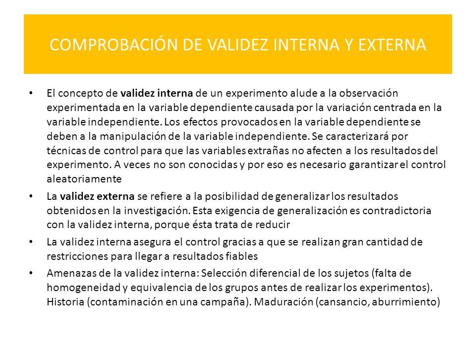COMPROBACIÓN DE VALIDEZ INTERNA Y EXTERNA El concepto de validez interna de un experimento alude a la observación experimentada en la variable dependi