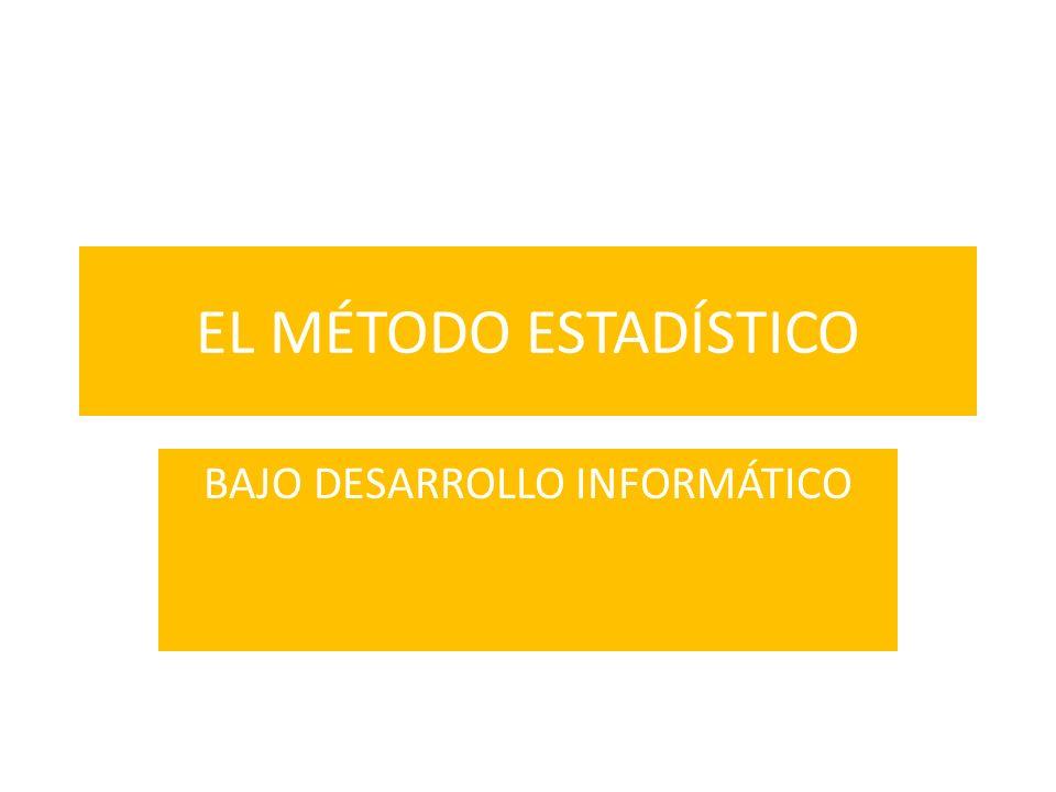 EL MÉTODO ESTADÍSTICO BAJO DESARROLLO INFORMÁTICO