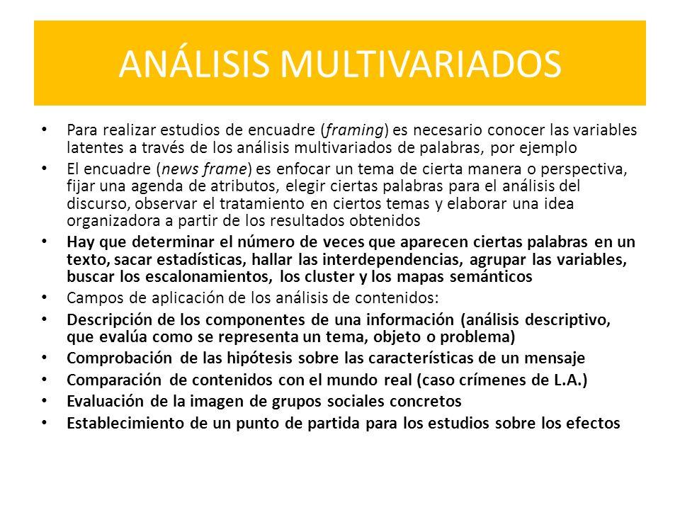 ANÁLISIS MULTIVARIADOS Para realizar estudios de encuadre (framing) es necesario conocer las variables latentes a través de los análisis multivariados