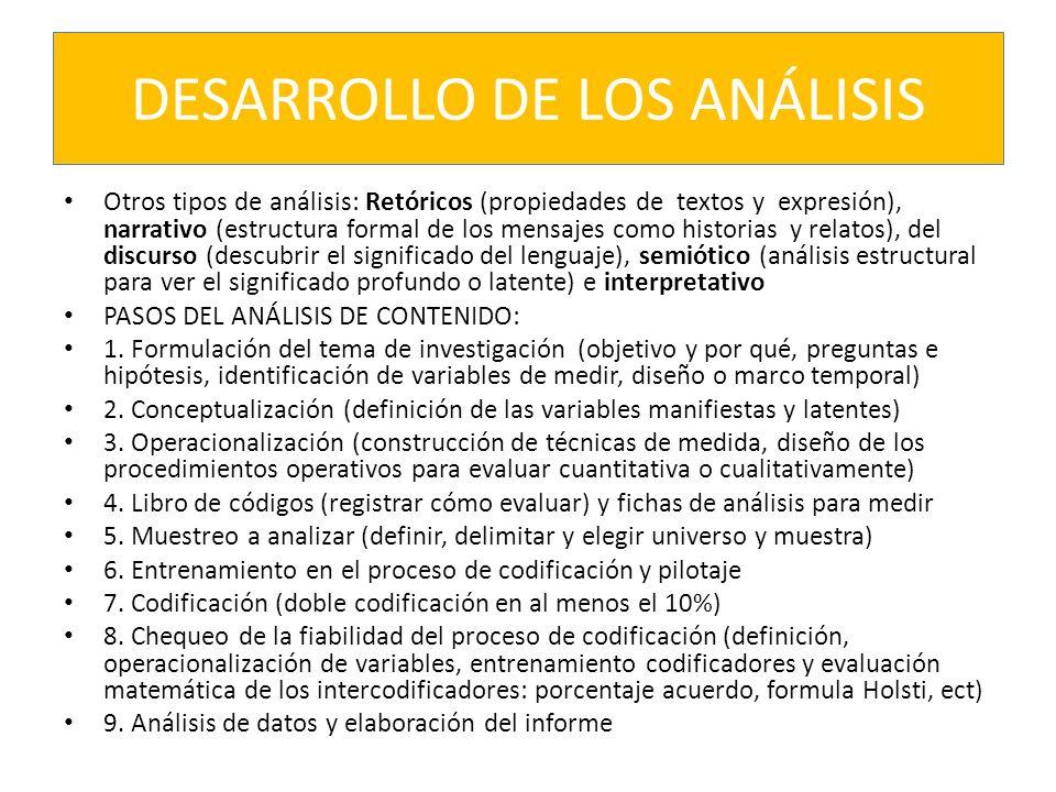 DESARROLLO DE LOS ANÁLISIS Otros tipos de análisis: Retóricos (propiedades de textos y expresión), narrativo (estructura formal de los mensajes como h