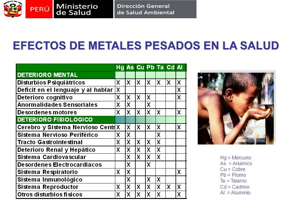 EFECTOS DE METALES PESADOS EN LA SALUD Hg = Mercurio As = Arsénico Cu = Cobre Pb = Plomo Ta = Talanio Cd = Cadmio Al = Aluminio