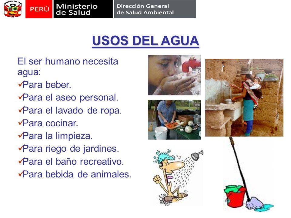 USOS DEL AGUA El ser humano necesita agua: Para beber. Para el aseo personal. Para el lavado de ropa. Para cocinar. Para la limpieza. Para riego de ja