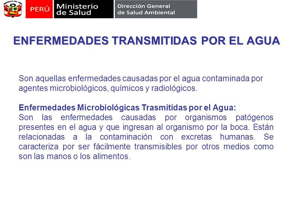 ENFERMEDADES TRANSMITIDAS POR EL AGUA Son aquellas enfermedades causadas por el agua contaminada por agentes microbiológicos, químicos y radiológicos.