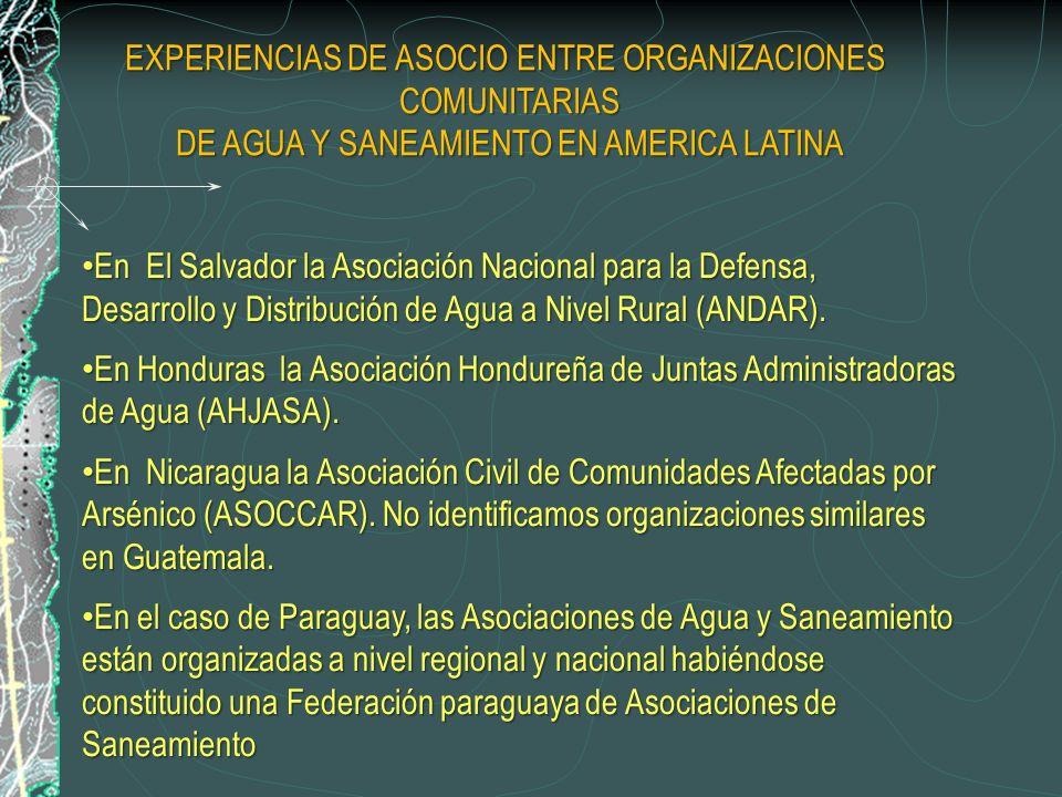 En El Salvador la Asociación Nacional para la Defensa, Desarrollo y Distribución de Agua a Nivel Rural (ANDAR).