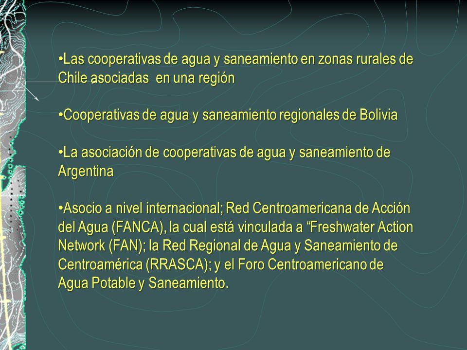 Las cooperativas de agua y saneamiento en zonas rurales de Chile asociadas en una región Las cooperativas de agua y saneamiento en zonas rurales de Chile asociadas en una región Cooperativas de agua y saneamiento regionales de Bolivia Cooperativas de agua y saneamiento regionales de Bolivia La asociación de cooperativas de agua y saneamiento de Argentina La asociación de cooperativas de agua y saneamiento de Argentina Asocio a nivel internacional; Red Centroamericana de Acción del Agua (FANCA), la cual está vinculada a Freshwater Action Network (FAN); la Red Regional de Agua y Saneamiento de Centroamérica (RRASCA); y el Foro Centroamericano de Agua Potable y Saneamiento.